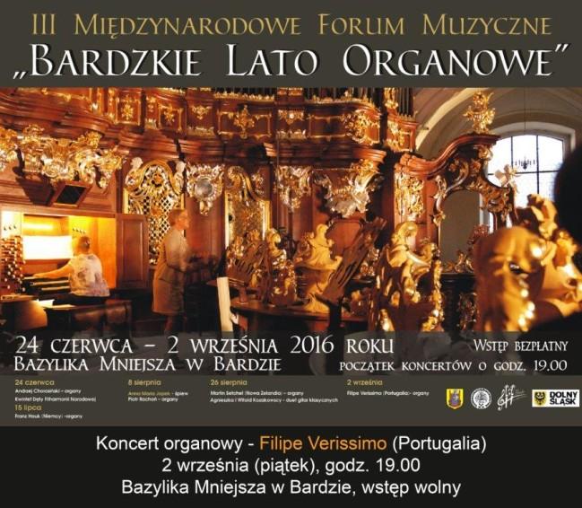Ostatni koncert Bardzkiego Lata Organowego Filipe Verissimo
